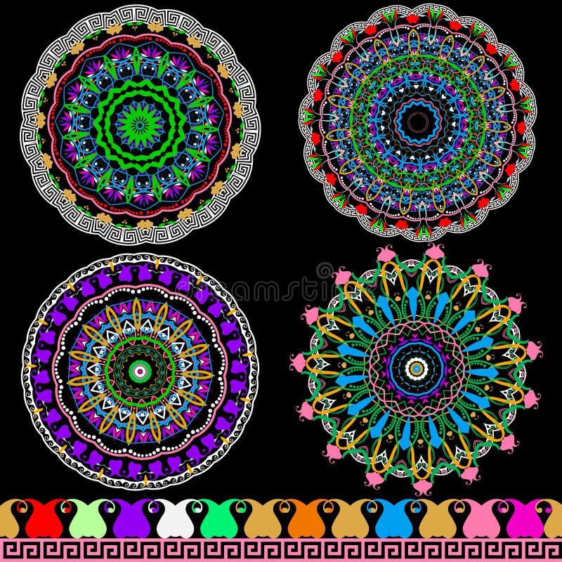 Красочные флористические этнические картины мандалы Пейсли Яркие мандалы вектора и набор границы Греческий ключевой орнамент меан иллюстрация вектора