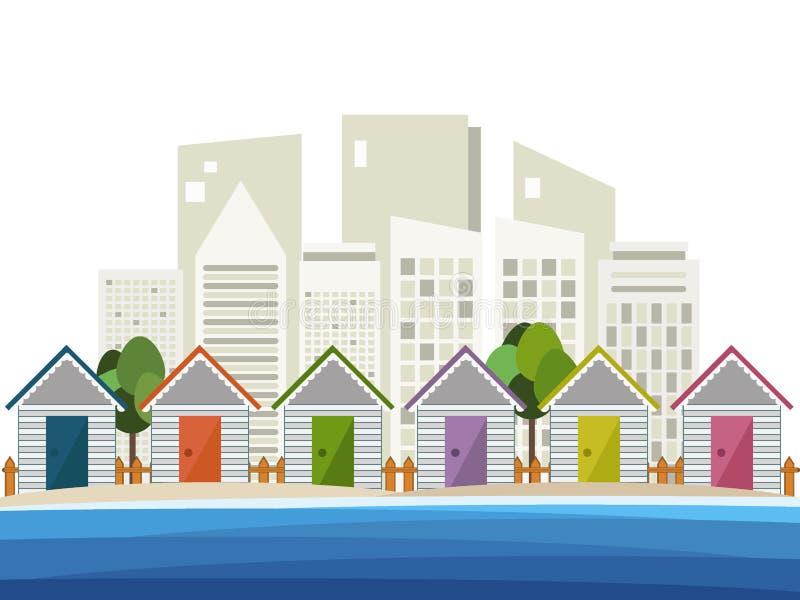 Красочные хаты пляжа, абстрактная предпосылка горизонтов иллюстрация вектора