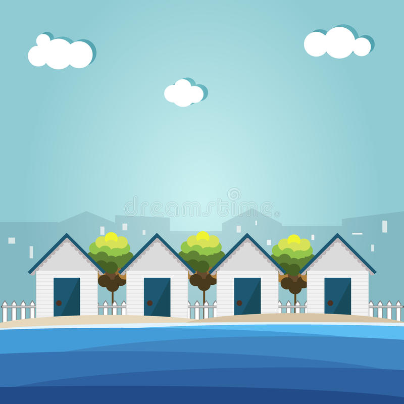 Красочные хаты пляжа, городская дымка бесплатная иллюстрация