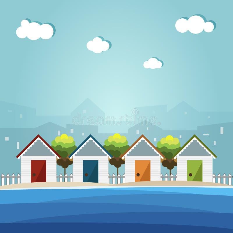 Красочные хаты пляжа, предпосылка города иллюстрация вектора