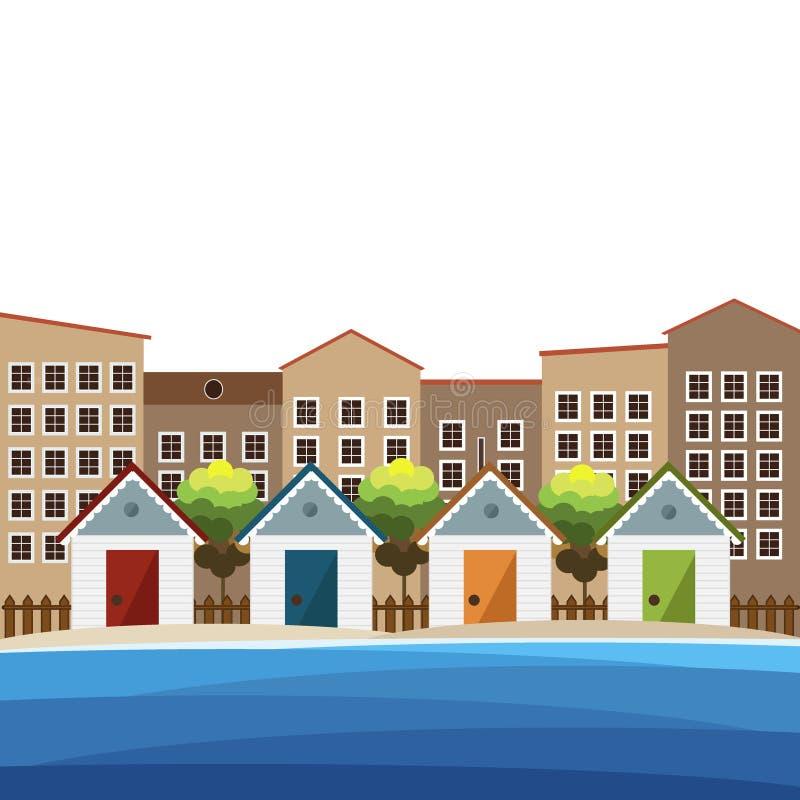 Красочные хаты пляжа, предпосылка города бесплатная иллюстрация