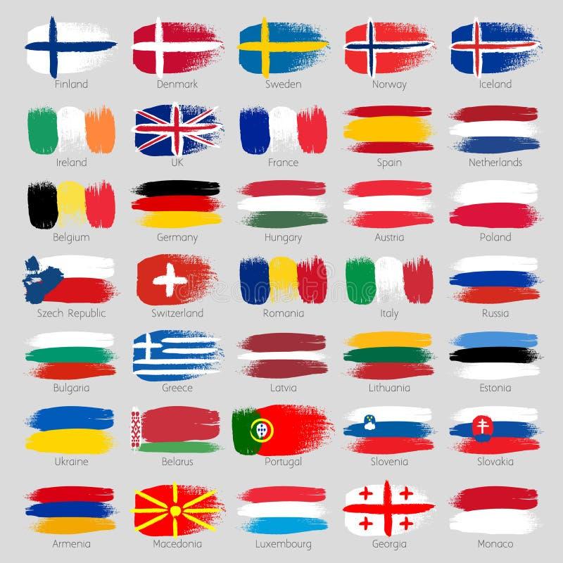 Красочные ходы щетки покрасили европейские страны иллюстрация вектора