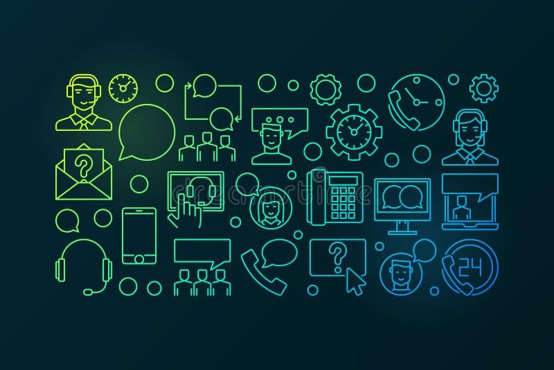 Красочные центр телефонного обслуживания и потребитель поддерживают концепцию вектора горизонтальную бесплатная иллюстрация