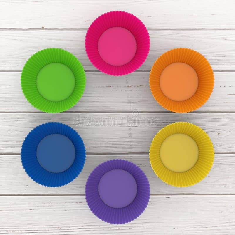 Красочные чашки силикона пирожного перевод 3d стоковые изображения rf