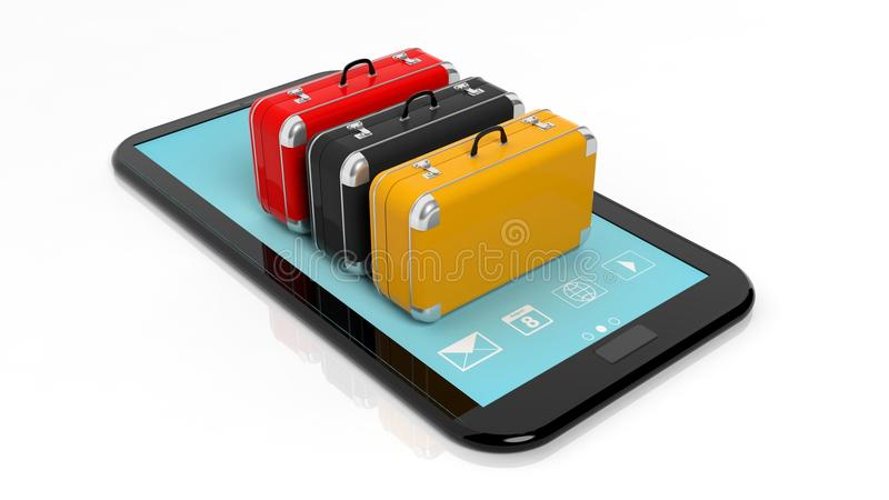 Красочные чемоданы на экране таблетки иллюстрация штока