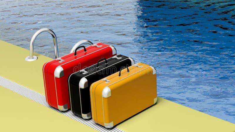 Красочные чемоданы около бассейна иллюстрация вектора