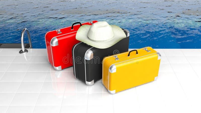 Красочные чемоданы около бассейна бесплатная иллюстрация