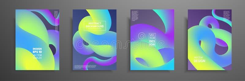 Красочные шаблоны установленные с абстрактными элементами Абстрактный смешивая жидкостный дизайн крышки форм цвета Применимый для иллюстрация вектора