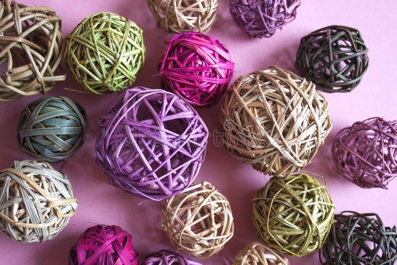 Красочные шарики ротанга стоковые фотографии rf