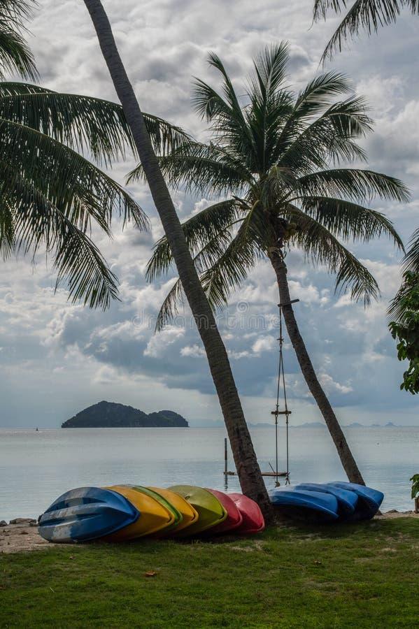Красочные шлюпки, качание и ладони на пляже на Koh Pha Ngan стоковое фото rf