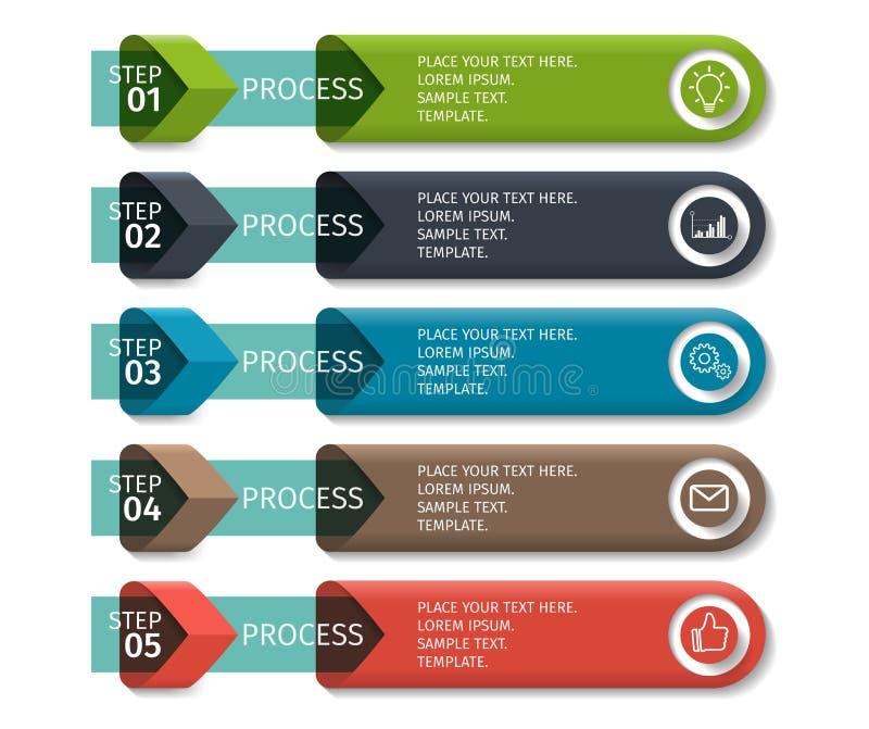 Красочные элементы дизайна стрелки для infographics дела Vector шаблон с 5 шагами, частями, вариантами, этапами иллюстрация штока