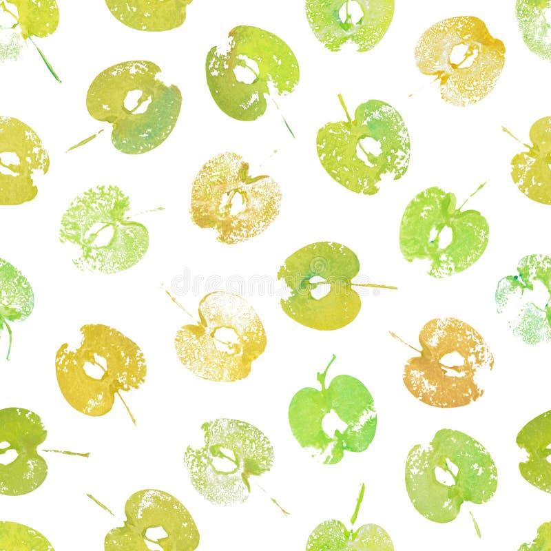 Красочные яблоки покрашенные в акварели картина безшовная иллюстрация вектора