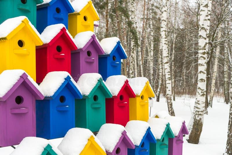 Красочные birdhouses для птиц в снеге стоковые фото