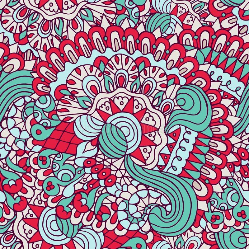 Красочные doodles флористические и картина кривых орнаментальная безшовная иллюстрация штока
