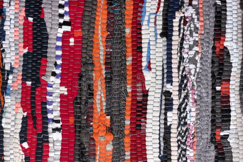 Красочные handmade половик или ковер motley текстуры ткани стоковые фото