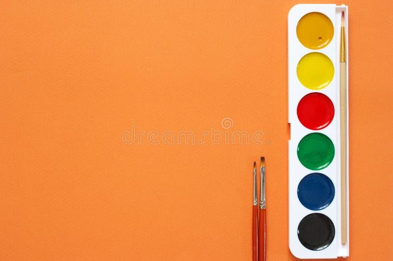 Красочные watercoloes установили на апельсин стоковые изображения rf