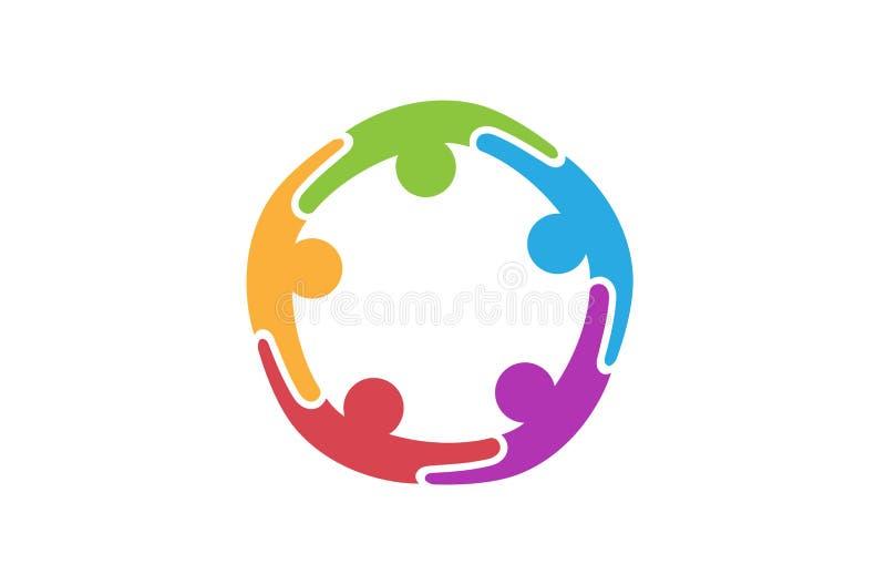 Красочный абстрактный логотип людей иллюстрация вектора