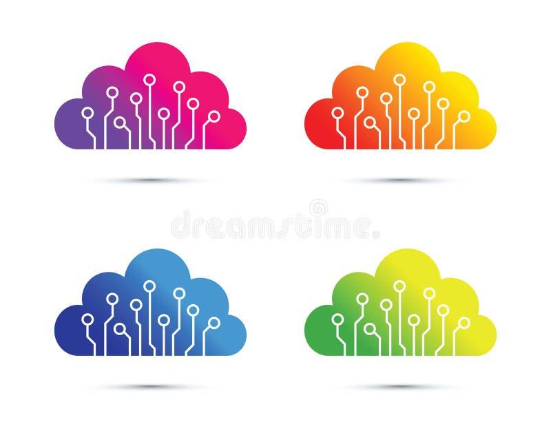 Красочный абстрактный набор значка компьютерной микросхемы облака иллюстрация штока