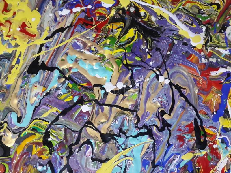Красочный абстрактный холст картины для домашнего дизайна стоковое фото rf