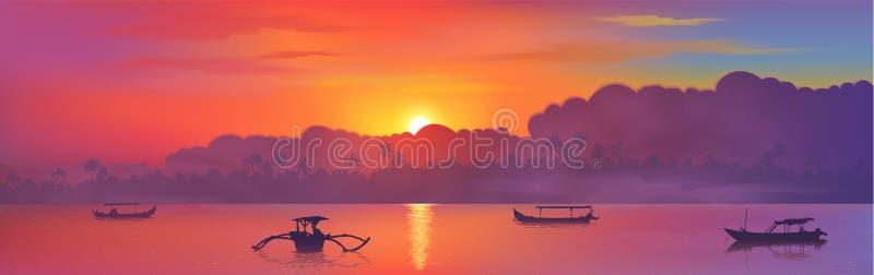Красочный азиатский заход солнца с силуэтами облаков и пальм, отражение солнца и шлюпки рыболова в воде океана, векторе бесплатная иллюстрация