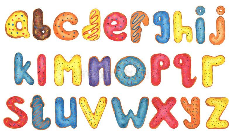 Красочный алфавит донута акварели бесплатная иллюстрация