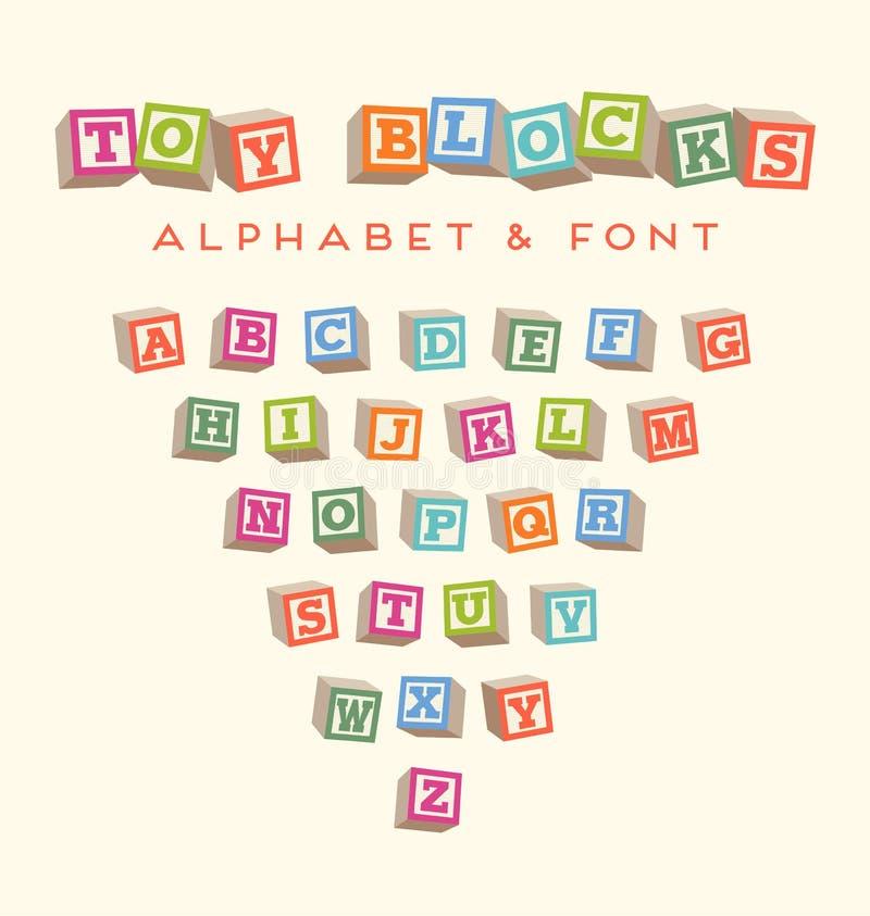 Красочный алфавит преграждает шрифт блоков младенца бесплатная иллюстрация