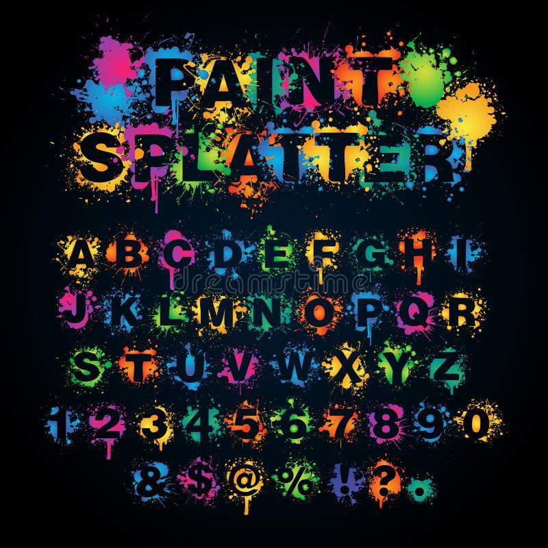 Красочный алфавит splatter краски иллюстрация вектора