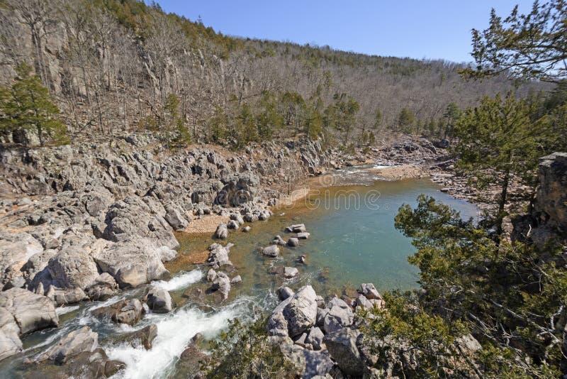 Красочный бассейн между речными порогами стоковое фото rf