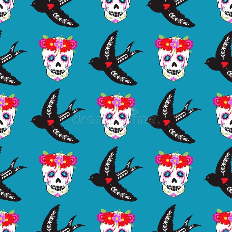 Красочный безшовный день праздника Dia De Лос muertos предпосылки картины мертвого вектора бесплатная иллюстрация