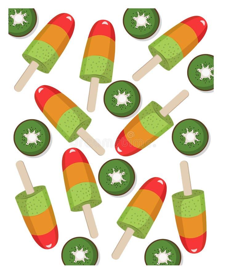 Красочный вектор обслуживания лета вкуса кивиа мороженого плодоовощ иллюстрация вектора