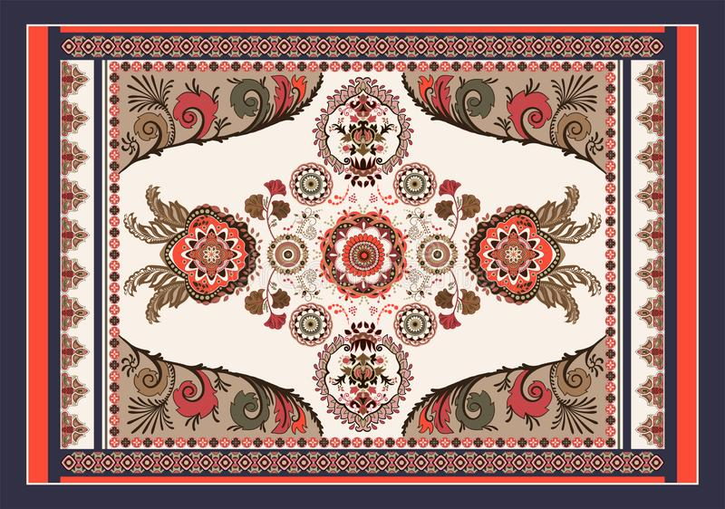 Красочный венгерский дизайн вектора для половика, полотенца, ковра, ткани, ткани, крышки Яркое флористическое стилизованное декор иллюстрация штока