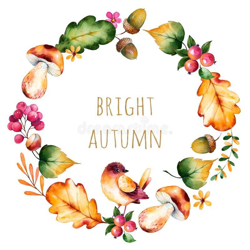 Красочный венок осени с листьями осени, цветками, ветвью, ягодами бесплатная иллюстрация