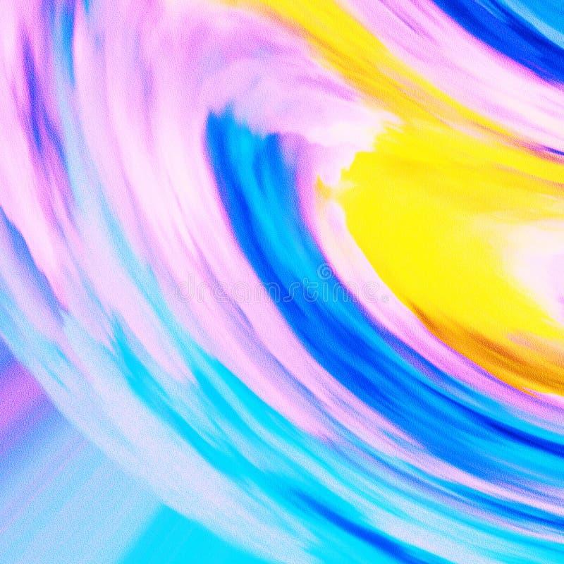 Красочный волнистый дизайн темы Яркая накаляя краска холста Ходы щетки вручают вычерченную печать холста иллюстрация штока
