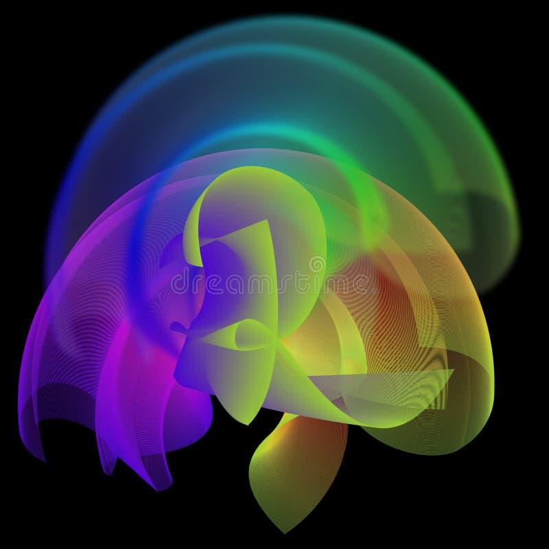 Красочный волнистый и освещенный алфавитный компьютер произвел дизайн бесплатная иллюстрация