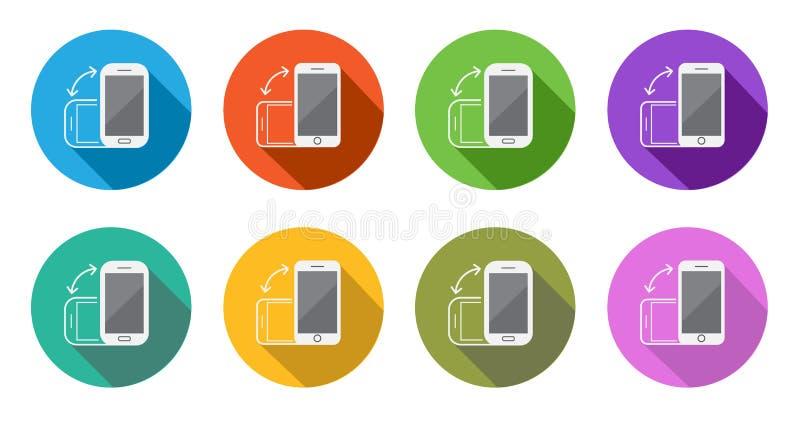 Красочный вращайте вокруг плоских Smartphone или мобильного телефона иллюстрация штока
