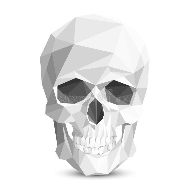 Красочный геометрический низкий поли череп Череп вектора триангулярный иллюстрация вектора