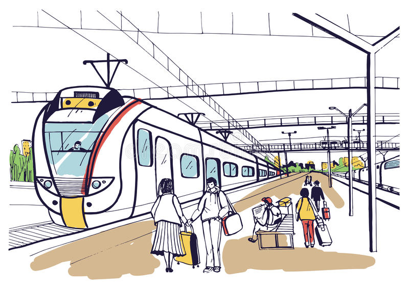 Красочный горизонтальный эскиз с людьми, пассажирами ждать электропоезд прибытия пригородный вычерченный вектор руки иллюстрация вектора