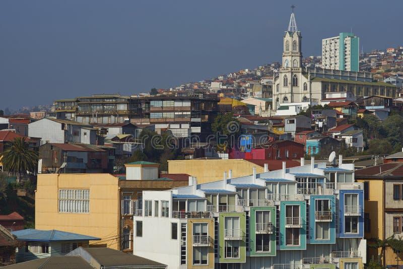 Красочный город Вальпараисо, Чили стоковая фотография