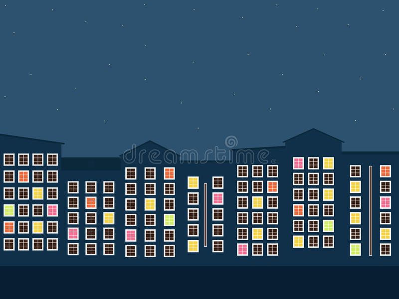 Красочный город на ноче Для продажи квартир/рента сбывание ренты домов квартир имущества реальное иллюстрация штока