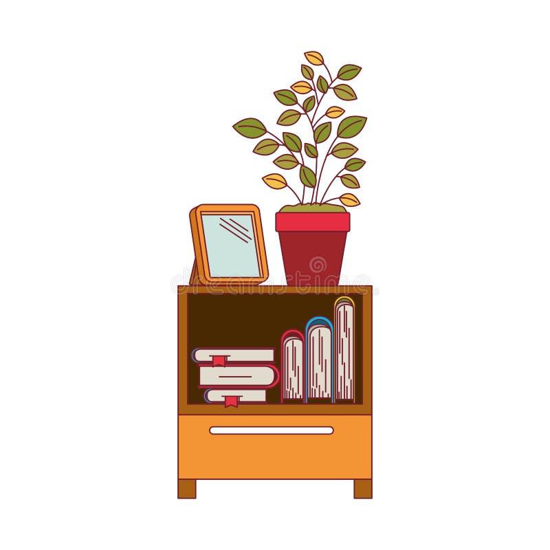 Красочный график декоративной таблицы шкафа с книгами и plantpot с темнотой - контуром красной линии иллюстрация вектора