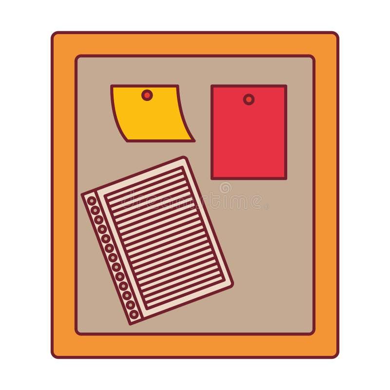 Красочный график деревянной панели для примечаний с темнотой - контуром красной линии иллюстрация штока