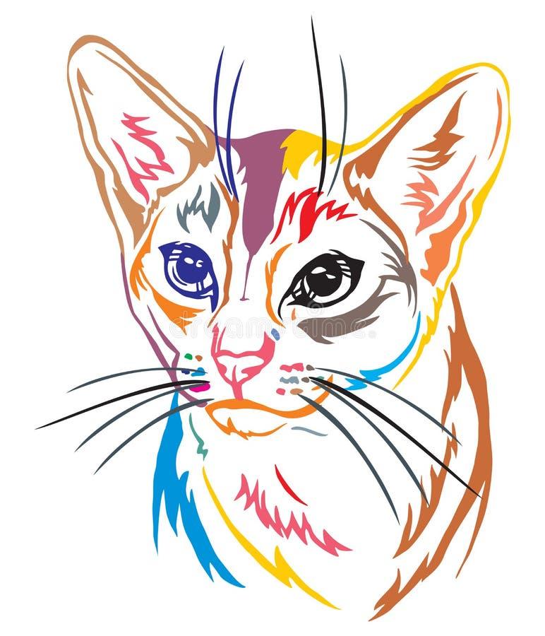 Красочный декоративный портрет абиссинского illustrati вектора кота бесплатная иллюстрация
