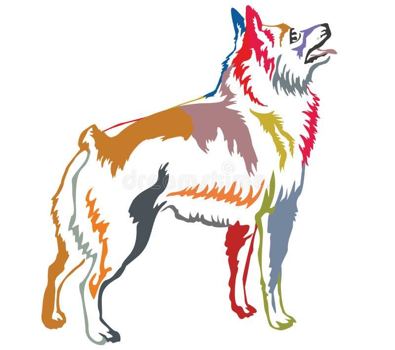 Красочный декоративный стоящий портрет illus вектора Шипперке иллюстрация штока