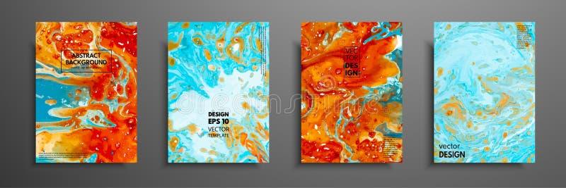 Красочный дизайн крышек установленный с текстурами Крупный план картины Абстрактной яркой предпосылка покрашенная рукой, жидкая иллюстрация вектора