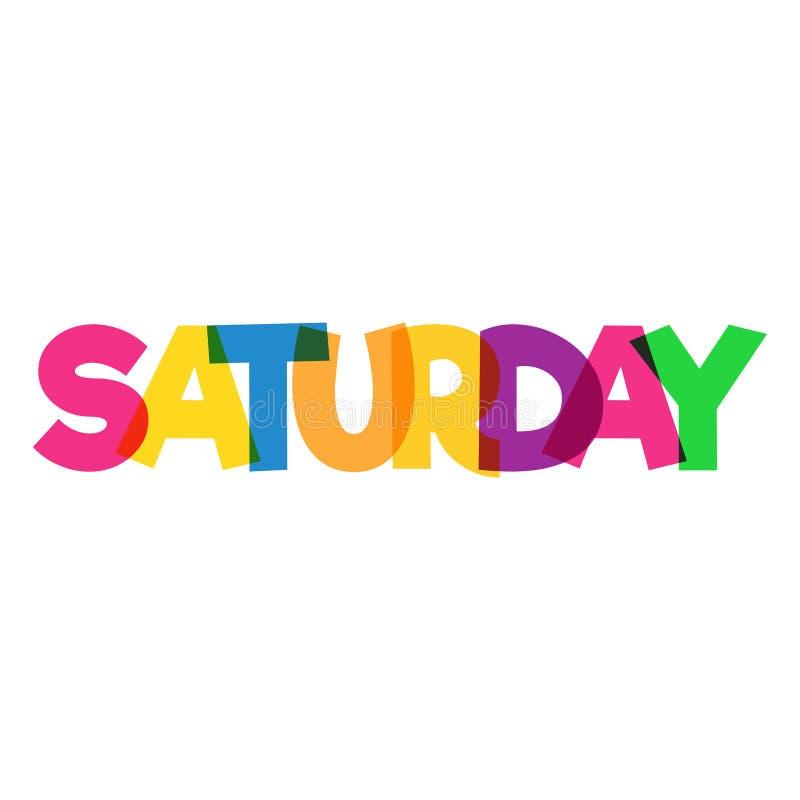 Красочный дизайн слова ` субботы ` Перекрывая цвета Изолировано на белизне бесплатная иллюстрация