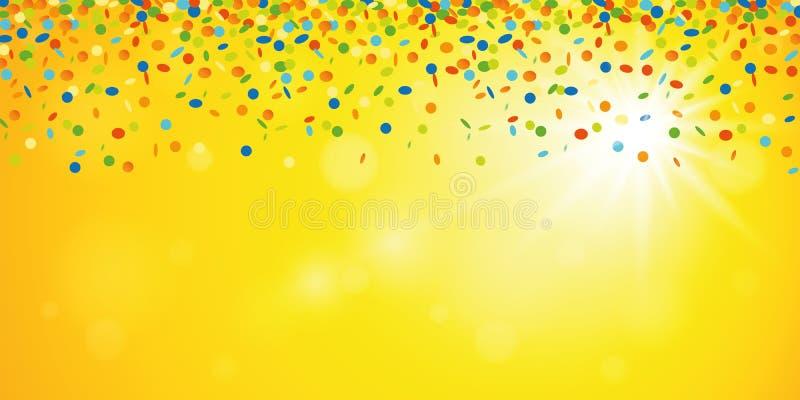 Красочный дождь confetti на желтой солнечной предпосылке лета иллюстрация штока