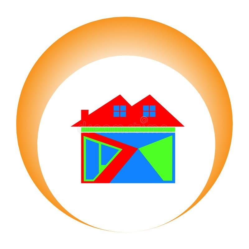 красочный домашний значок с солнцем за им как символ успеха r иллюстрация вектора