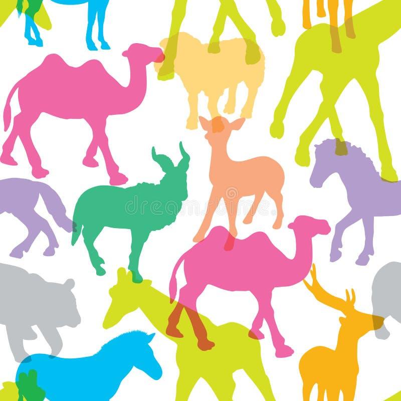 Красочный животных силуэта иллюстрация вектора