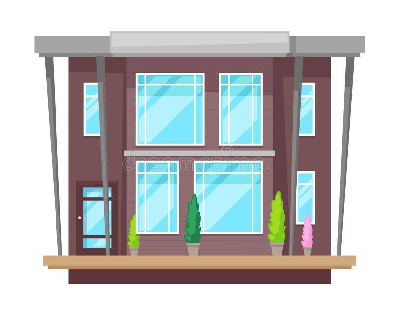 Красочный загородный дом, коттедж, воссоздание особняка, недвижимость, современная гостиница бесплатная иллюстрация
