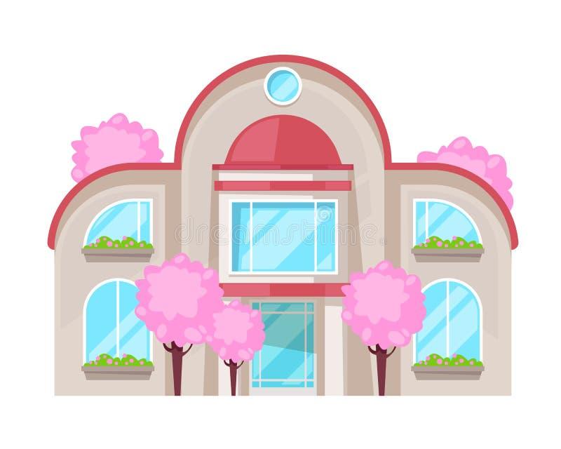 Красочный загородный дом, коттедж семьи, воссоздание особняка, недвижимость бесплатная иллюстрация